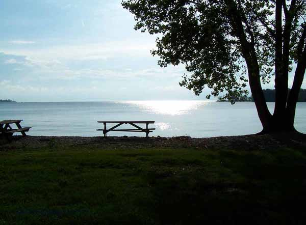 An inviting picnic table on the north shore of Middle Bass