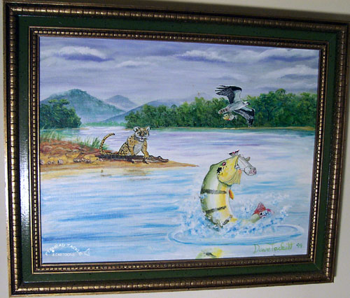 Peacock Bass, Wild Cat, Camon, Birds painting