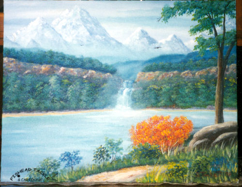 Burning bush, waterfalls painting