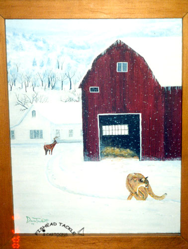 Barn, Cougar, winter scene painting