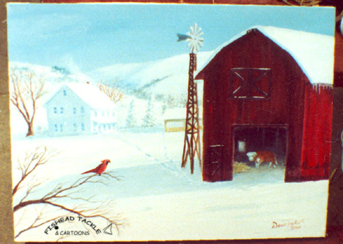 Barn Cow Redbird Winter scenepainting
